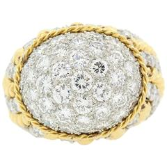 Diamond Pave Gold Dome Ring, circa 1960s
