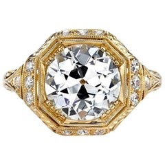 GIA Certified Old European Cut Diamond Yellow Gold Engagement Ring