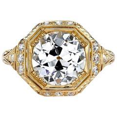 GIA Certified Old European Cut Diamond Yellow Gold Engagement Ring