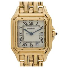 Cartier Yellow Gold White Dial Panther Quartz Wristwatch, circa 1980s