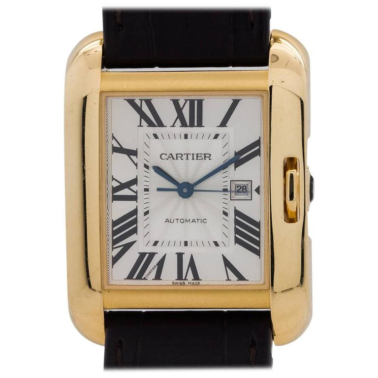 Cartier Yellow Gold Tank Anglaise Automatic Wristwatch Ref 3509, circa 2015 For Sale