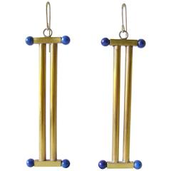 Heidi Ambrahamson Lapis Lazuli Brass Column Earrings
