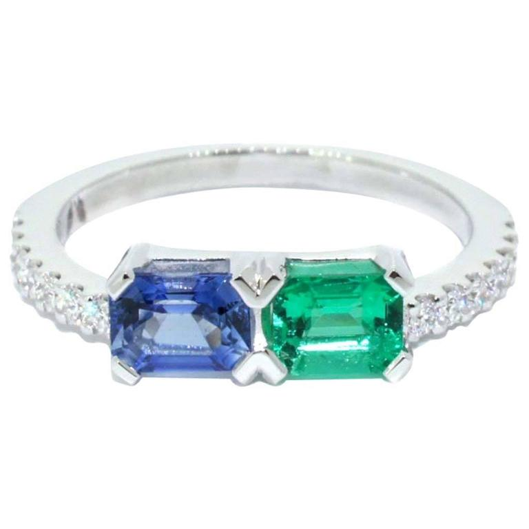Lizunova Sapphire, Emerald & Diamond Ring in 18 karat White Gold