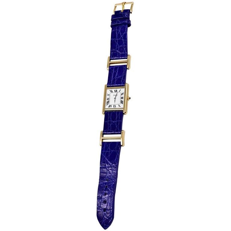 Piaget Ladies Yellow Gold Tank Mechanical Wristwatch