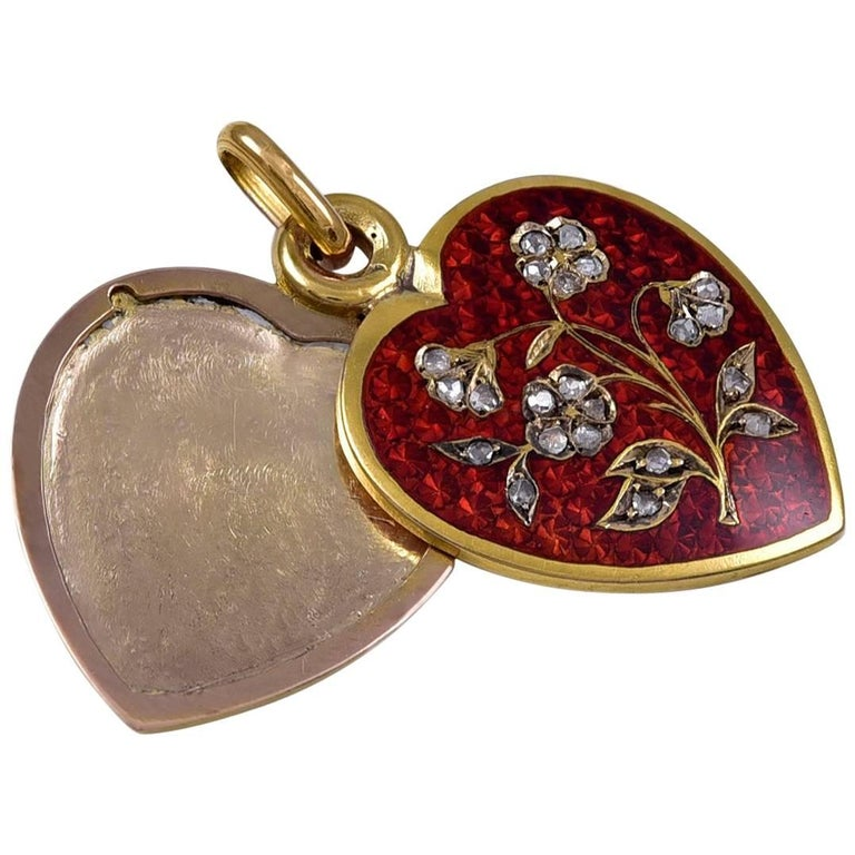 Antique Enamel Diamond Gold Heart Locket