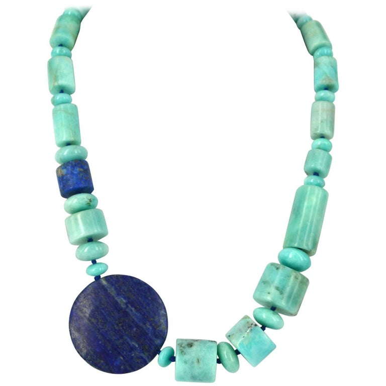 Decadent Jewels Natural Amazonite Lapis Lazuli Silver Necklace For Sale