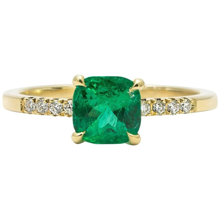 Cushla Whiting 0.89 Carat Muzo Emerald, Diamond & 18 Karat Gold Engagement Ring