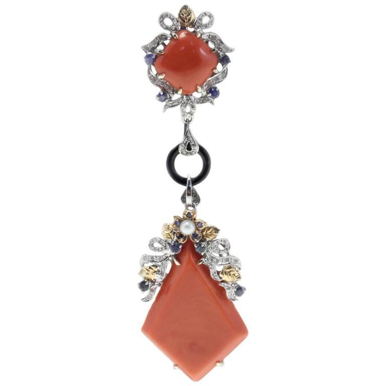 Coral Onyx Sapphire Diamond Pearl Gold Pendant