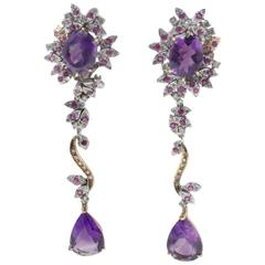 Amethyst Ruby Diamond Rose and White Gold Earrings