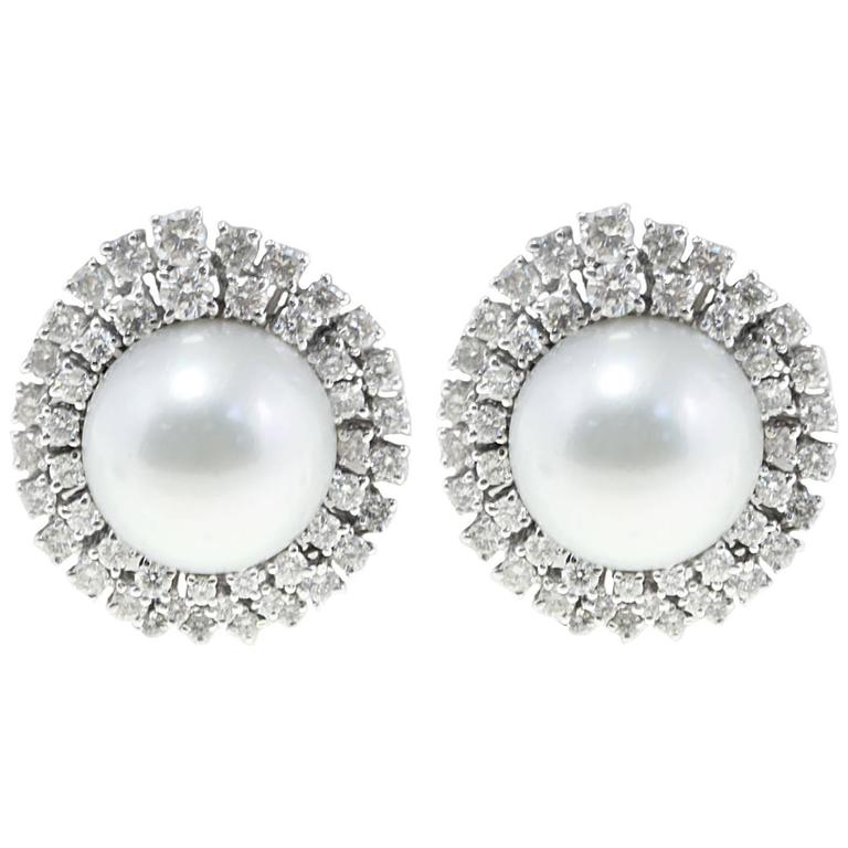 18 kt white gold ct 4,11 Diamond Australian Pearl  Earrings