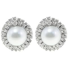 18 kt white gold ct 4,11 Diamond Australian Pearl  Earrings
