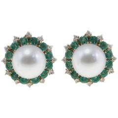 Luise Emerald South Sea Australian Pearl Diamond Earrings