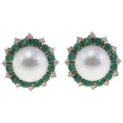 Luise Emerald South Sea Pearl Diamond Earrings