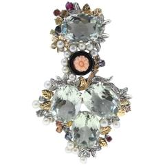 Green Amethyst Diamond Coral Onys Sapphire Pearl Gold  Pendant