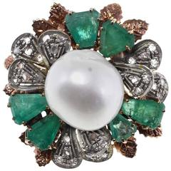 Gold Silver Diamond Emerald Pearl Cocktail Ring
