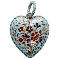 Gabriel-Raoul Morel Heart Shaped Enamel Gold Flower Locket