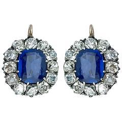 Antique Sapphire Diamond Silver Gold Dormeuses Earrings