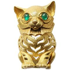 Cartier Emerald Gold Lemur Brooch