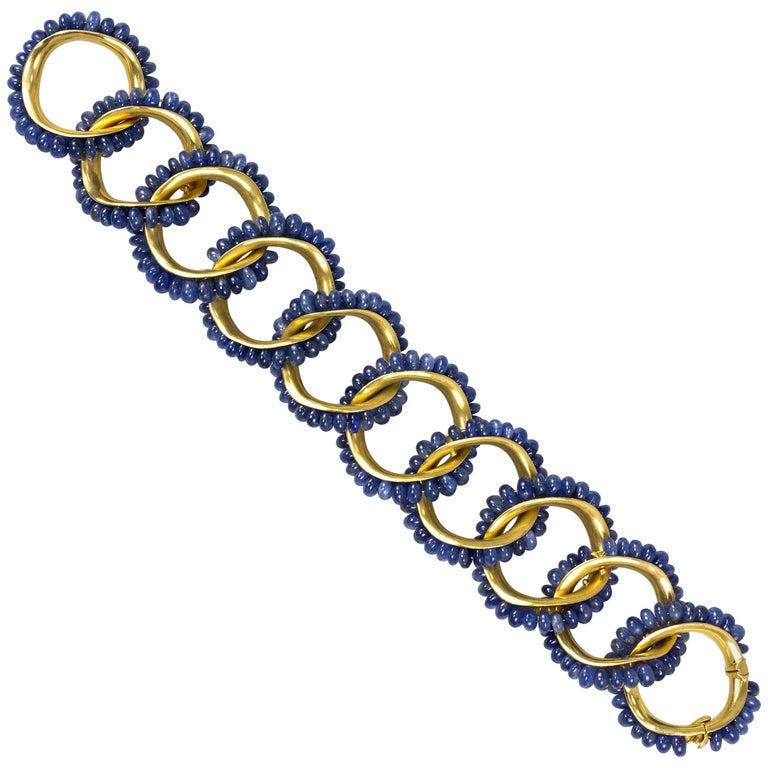 Seaman Schepps Sapphire Bead and Gold Bracelet
