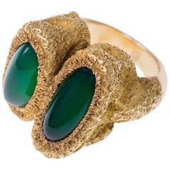 1970s Chaumet Chrysoprase and Gold Ring