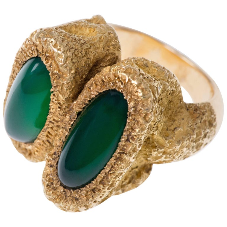 1970s Chaumet Chrysoprase and Gold Ring 1