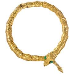 1970s  Eric De Kolb Gold Snake Necklace