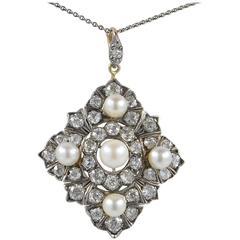 Victorian Natural Pearl 6.80 Carat Diamond Rare Pendant