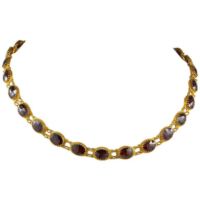 Georgian 57.0 Carat Red Garnet Riviere Necklace
