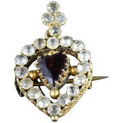 Antique Victorian Garnet Heart Paste Pendant Brooch 18 Carat Gold
