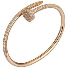 Cartier Juste un Clou Diamond Pink Gold Bangle Bracelet