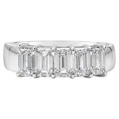 1.80 Carat Emerald Cut Diamond Five-Stone Wedding Band Ring