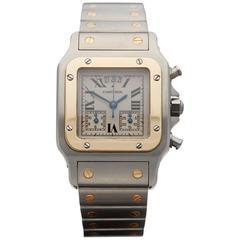 Cartier Santos Galbee Chronograph Stainless Steel 18 Karat Yellow Gold 2425