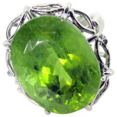 Huge Sparkling Green Peridot Sterling Silver Ring