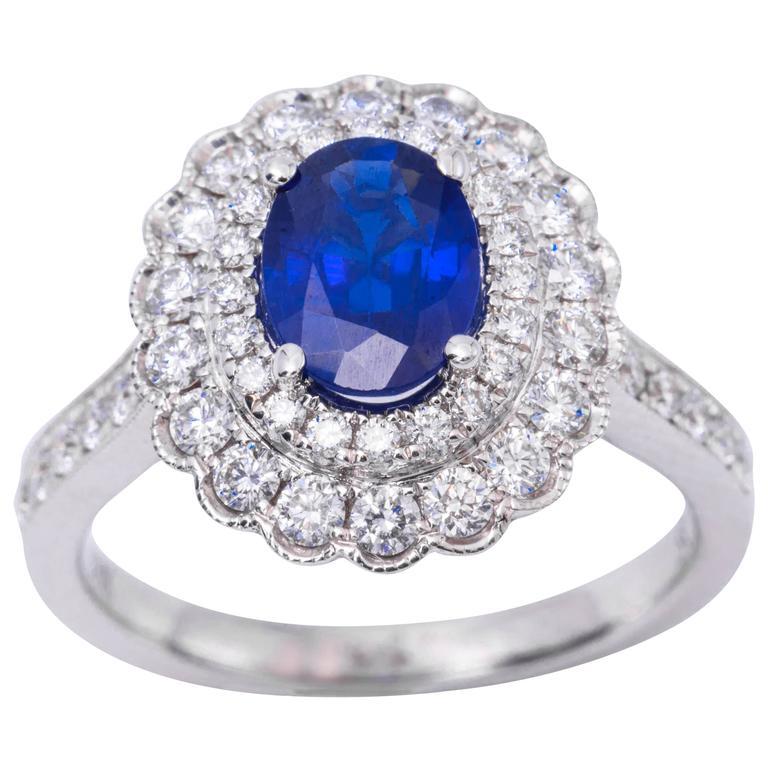 Oval Sapphire Diamond Engagement Halo Ring