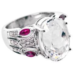 Kunzite Ruby Diamond White Gold Ring
