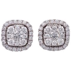 Cluster Diamond White Gold Stud Earrings