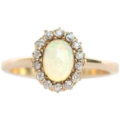 1880s Victorian 1 Carat Opal Diamond Yellow Gold Engagement Ring
