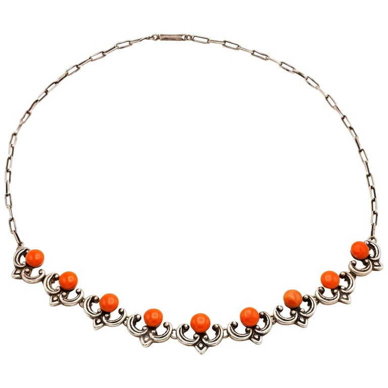 Sterling Silver and Coral Button Necklace