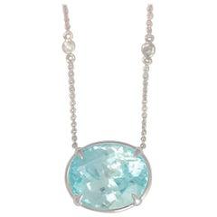 Frederic Sage 25.54 Carat Blue Zircon Diamond Pendant