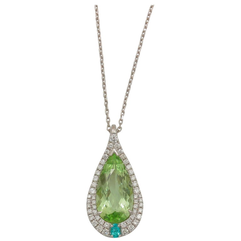 Frederic Sage 3.36 Carat Fine Green and Paraiba Tourmaline Pendant 1