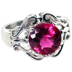 2.74 Carat ReddishPink Tourmaline Sterling Silver Cocktail Ring