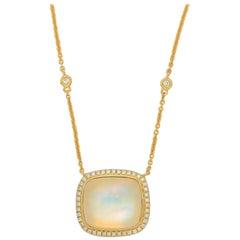 Frederic Sage 13.67 Carat Moonstone Diamond Pendant Necklace