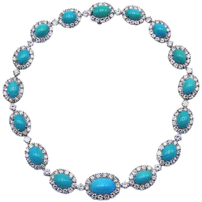 Van Cleef & Arpels Turquoise Diamond Platinum Choker Necklace For Sale