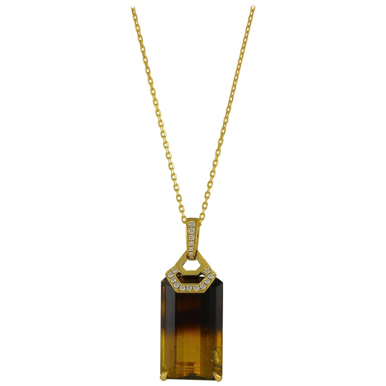 Frederic Sage 38.22 Carat Bi Color Tourmaline Pendant Necklace For Sale