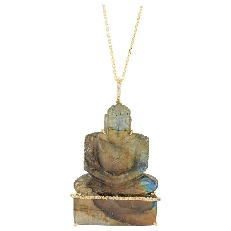 Frederic Sage 132.70 Labradoirte Carved Buddha Pendant Necklace For Sale