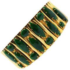 Malachite Thick Yellow Gold Bangle Bracelet