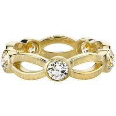 Handcrafted 18 Karat Gold Old European Cut Diamond  Eternity Band