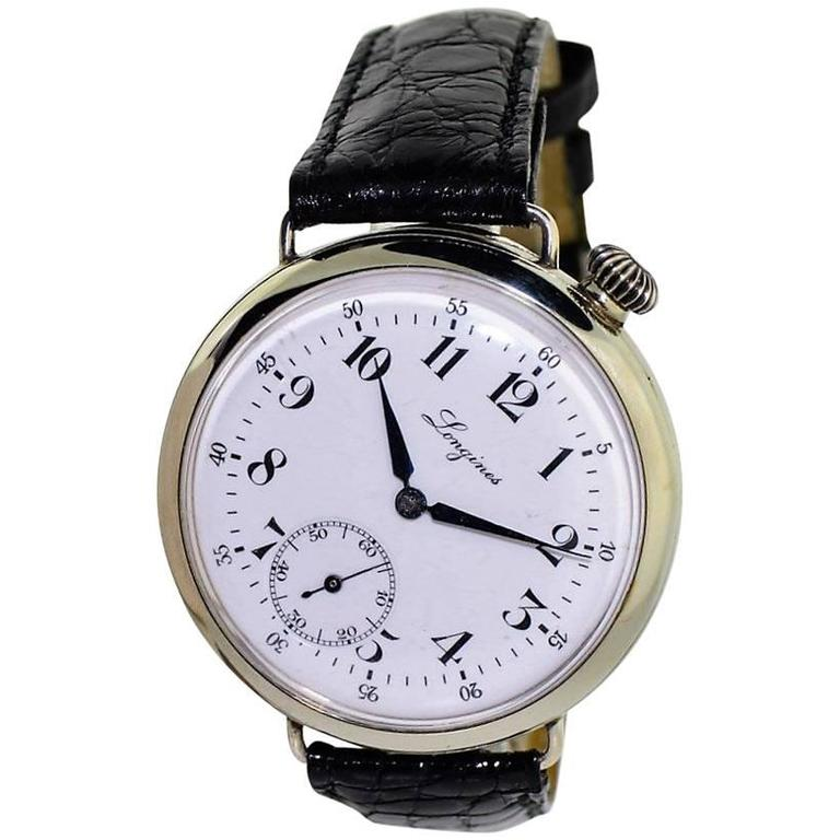 Longines Nickel Enamel Dial Military Campaign Style Manual Wind Watch