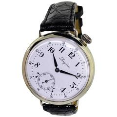 Longines Nickel Enamel Dial Military Campaign Style Manual Wind Wristwatch