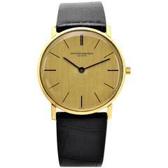 Vacheron & Constantin Yellow Gold Linen Dial Ultra Thin Dress Manual Wristwatch
